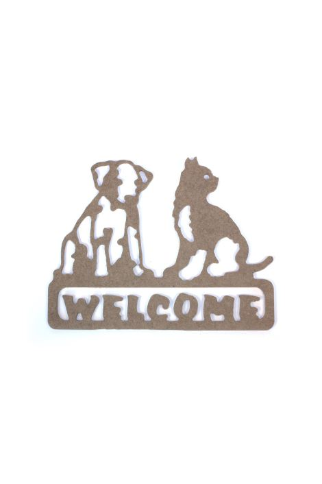 MDF KEDİ KÖPEK WELCOME YAZISI (24x31 cm 6mm)